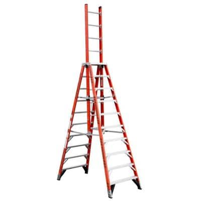 10 ft. Fiberglass Extension Trestle Step Ladder with 300 lb. Load Capacity Type IA Duty Rating