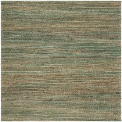 Cape Cod Sage/Natural 6 ft. x 6 ft. Square Striped Area Rug