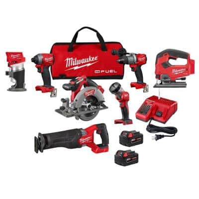 M18 FUEL 18-Volt Lithium-Ion Brushless Cordless Combo Kit (5-Tool) with M18 FUEL Jig Saw and Compact Router