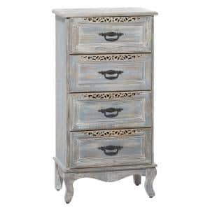 4-Drawer Grey Distressed Wood Tall Carved Cabinet with Black Metal Handles 20.5 in. x 39.5 in.