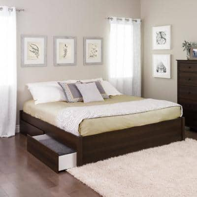 Select Espresso King 4-Post Platform Bed with 4-Drawers