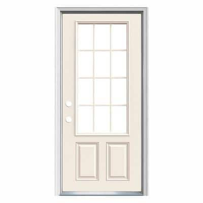 36 in. x 80 in. 12-Lite Primed Steel Prehung Right-Hand Inswing Prehung Front Door with Brickmould