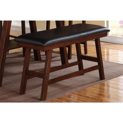 24 in. H x 48 in. W x 17 in. D Dark Walnut Finish Solid Wood and Dark Brown Faux Leather Dining Bench