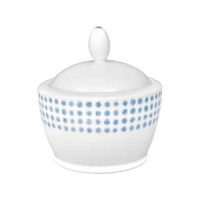 Blue/White Hammock Porcelain Sugar with Cover 9 oz.