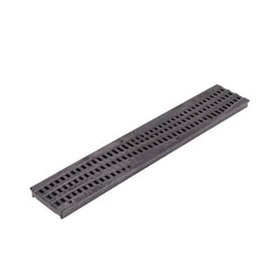 Spee-D® Channel Drain Grate, 4-7/16 in. wide X 2 ft. long, Decorative Wave Design, Black Plastic