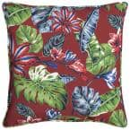 Ruby Tropical Square Outdoor Throw Pillow (2-Pack)