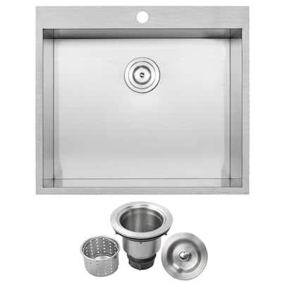 Arlo Zero Radius Drop-In 18-Gauge Stainless Steel 25 in. Single Bowl Kitchen Sink with Basket Strainer