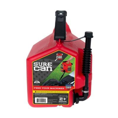 Self Venting Easy Pour Nozzle 2 Plus Gallon Flow Control Gas Can in Red