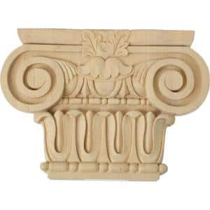 2-5/8 in. x 12-7/8 in. x 9-1/8 in. Unfinished Wood Alder Large Bradford Roman Ionic Capital