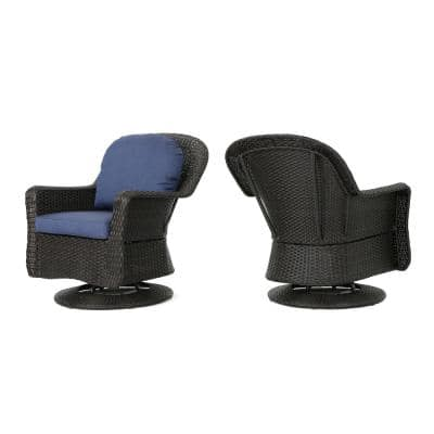 Dark Brown Iron-Framed Wicker Outdoor Lounge Chairs with Navy Blue Cushion (2-Pack)