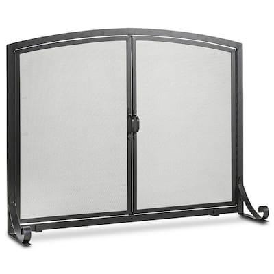 Black Freestanding Flat Steel 2-Panel Fireplace Screen for Indoor Living Room