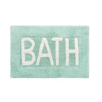 Cotton BATH 21 in. x 34 in. Aqua Rug