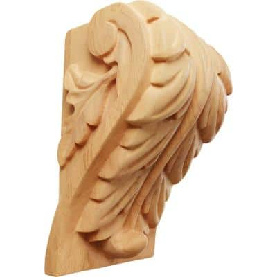3-1/4 in. x 3-3/4 in. x 6 in. Unfinished Wood Red Oak Large Acanthus Leaf Block Corbel