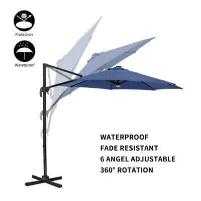 10 ft Aluminum Cantilever Tilt Patio Umbrella in Navy Blue with 8 Sturdy Ribs Solar Lights Windproof 360° Rotation