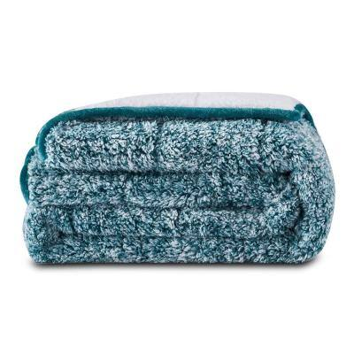 Hunter Green Teddy Sherpa with Sherpa Reverse 50 in. x 60 in. x 10 lbs. Weighted Throw Blanket