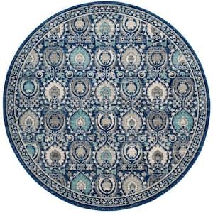 Evoke Blue/Ivory 7 ft. x 7 ft. Round Border Geometric Floral Area Rug