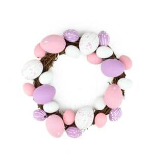 10 in. Pastel Pink, Purple and White Floral Stem Easter Egg Spring Grapevine Wreath