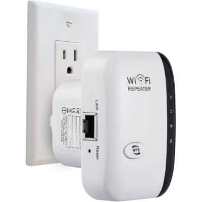 Wireless Mesh WiFi Extender Range Repeater to Boost Wi-Fi Signal and Eliminate Dead Zones Network Adapter, White