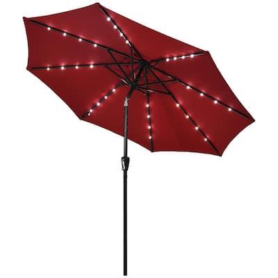9 ft. Iron Market Solar Tilt Patio Umbrella in Burgundy