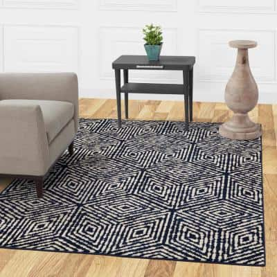 Jasmin Collection Cubes Design Navy and Ivory 5 ft. 3 in. x 7 ft. Area Rug