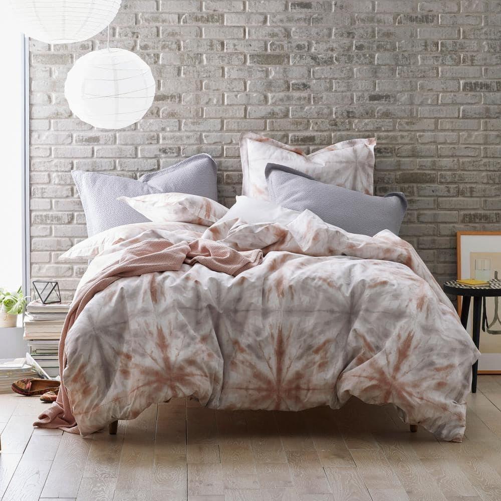 Cstudio Home By The Company Store Tie Dye 2 Piece Multicolored Geometric Organic Cotton Percale Twin Duvet Cover Set 40150d T Multi The Home Depot
