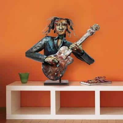 """""""The Bassist"""" Mixed Media Inregular Iron Hand-Pinted Colorful Art Sculpture"""