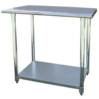 36 in. Stainless Steel Kitchen Utility Table with Bottom Shelf