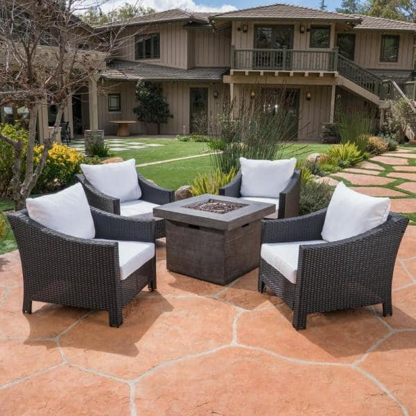 Noble House Antibes Black 5 Piece Wicker Patio Fire Pit Set With White Cushions 37315 The Home Depot