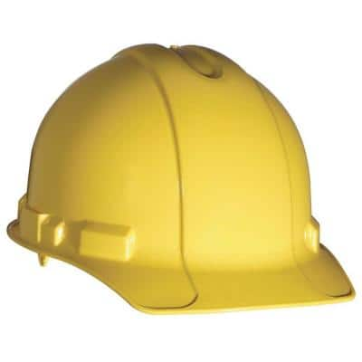 Yellow Non-Vented Hard Hat with Pin-Lock Adjustment (Case of 12)
