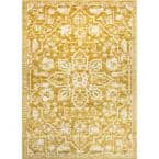Dazzle Disa Gold Vintage Distressed Medallion Oriental 7 ft. 3 in. x 9 ft. 3 in. Area Rug