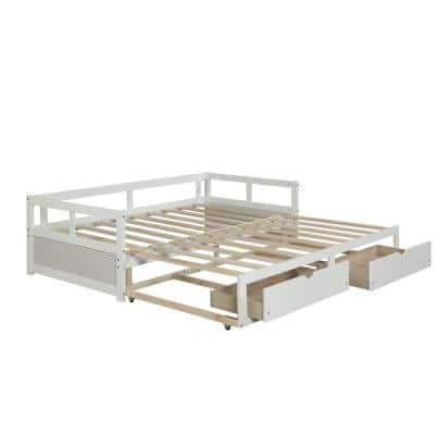 Full Solid Wood White Daybed Frame With 2 Storage Drawer And No Need For Box Spring