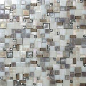 Beige 12.4 in. x 12.6 in. Mini Versailles Glass Mosaic Floor and Wall Tile (10.85 sq. ft./Case)