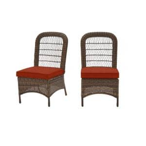 Beacon Park Brown Wicker Outdoor Patio Armless Dining Chair with CushionGuard Quarry Red Cushions (2-Pack)