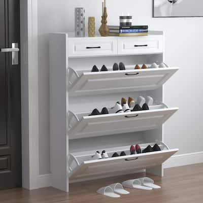 47.2 in. H x 35.4 in. W  White Wood Shoe Storage Cabinet
