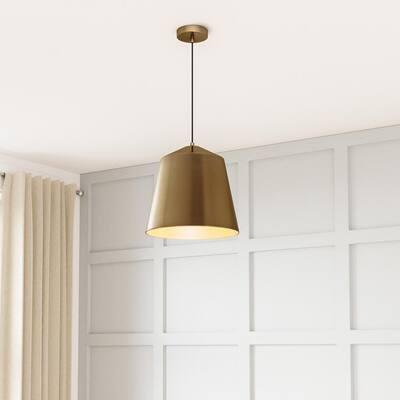 1-Light Metal Brass Pendant