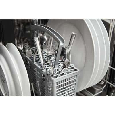 18 in. White Front Control Dishwasher with Stainless Steel Tub, 50 dBA