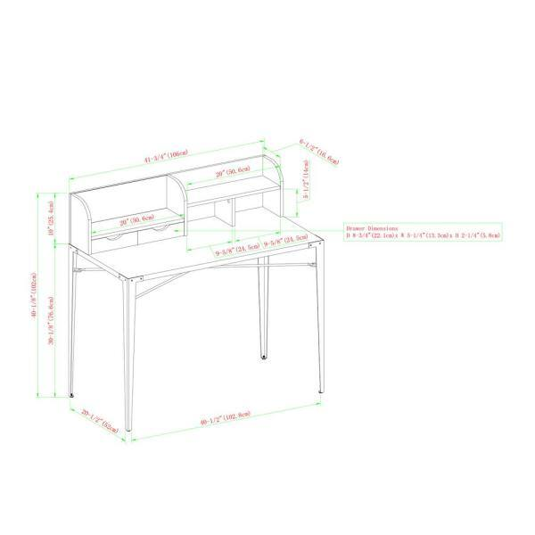 Welwick Designs 42 In Dark Walnut, Secretary Desk Dimensions
