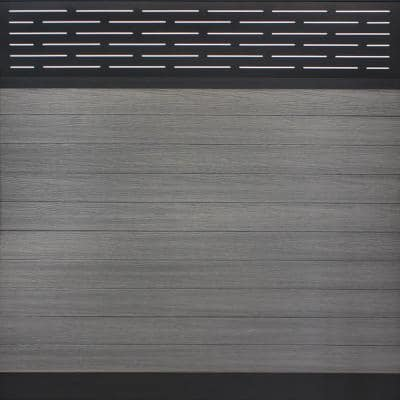 Euro Style 6 ft. H x 6 ft. W Lattice Top Oxford Grey Aluminum/Composite Horizontal Fence Section