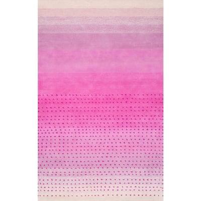 Blush Bohemian Polka Dots Pink 8 ft. x 10 ft. Area Rug