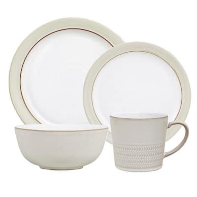 Natural Canvas 16-Piece White Dinnerware Set
