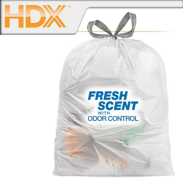 Hdx 13 Gallon White Fresh Scent Drawstring Trash Bags 50 Count Hdx13gdsfresh50 The Home Depot
