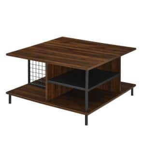 Convenience Concepts Graystone 32 In Weathered Gray Black Medium Square Wood Coffee Table With Shelf R4 0447 The Home Depot
