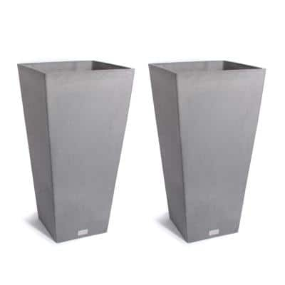Midland 26 in. Charcoal Plastic Tall Square Planter (2-Pack)
