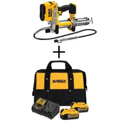 20-Volt MAX XR Cordless Grease Gun with (2) 20-Volt 5.0Ah Batteries, Charger and Bag