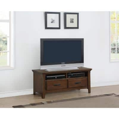 Rockwell 48 in. Distressed Wheat Wood TV Stand 48 in. with Cable Management