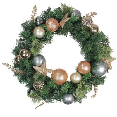 24 in. Unlit Rose Gold and Silver Pine Artificial Christmas Wreath
