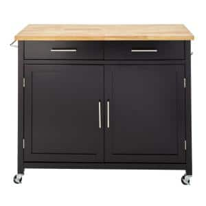 Glenville Black Double Drawer Kitchen Cart with Butcher Block Top and Locking Wheels (42'' W)