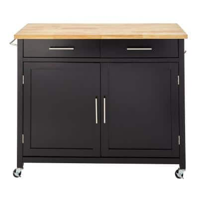 """Glenville Black Double Drawer Kitchen Cart with Butcher Block Top and Locking Wheels (42"""" W)"""