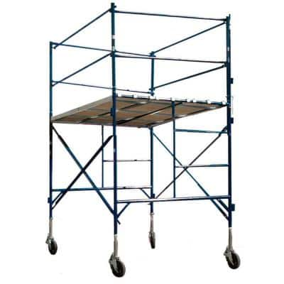 1-Story Tower with Guardrails and Casters, Wooden-Aluminum Walkboards, 2,000 lb. Load Capacity