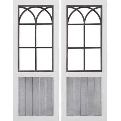 12 in. x 1 in. x 31.5 in. Metal White Willow Farmhouse Window Wall Plaque 2-Piece Set